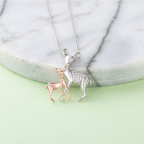 Charming Silver Mother & Daughter Deer Love Pendant Necklace - Pets Utopia
