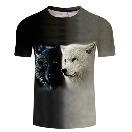 Black & White Wolfs T-Shirt - Pets Utopia