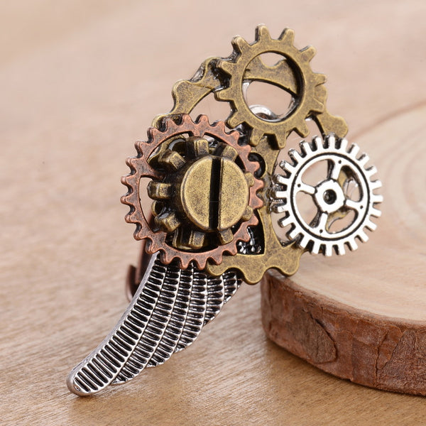 Silver Wing With Gears Steampunk Ring