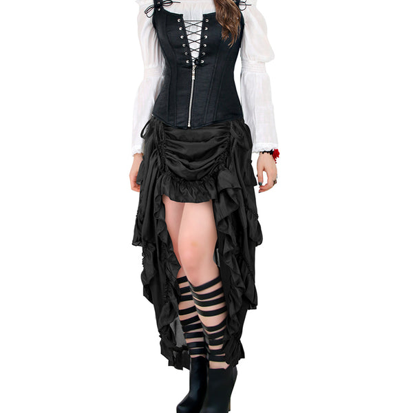 Steampunk Long Pleated Skirt