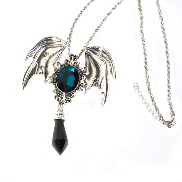 Gothic Bat Wings Pendant With Crystal