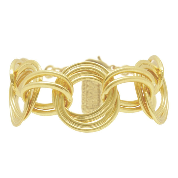 Double Circle and Oval Link gold Bracelet