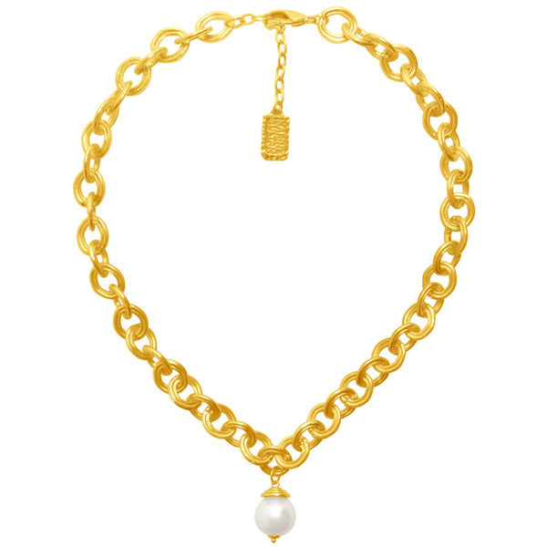 Chunky Gold Necklace with Pearl