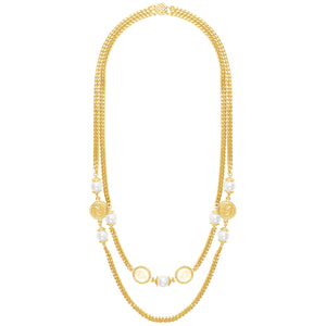 Link Chain Layered Necklace In Gold Pearl with Roman Coins