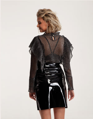 Sheer Long Sleeved Top with Ruffle