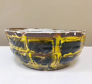 large yellow and blue scribble bowl