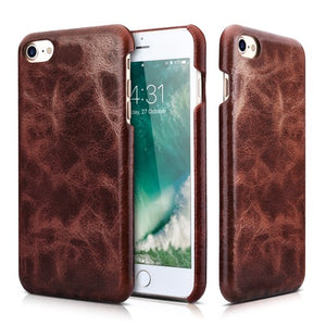 ICARER 2-in-1 Oil Wax Genuine Leather Wallet Phone Case with Stand for iPhone 8