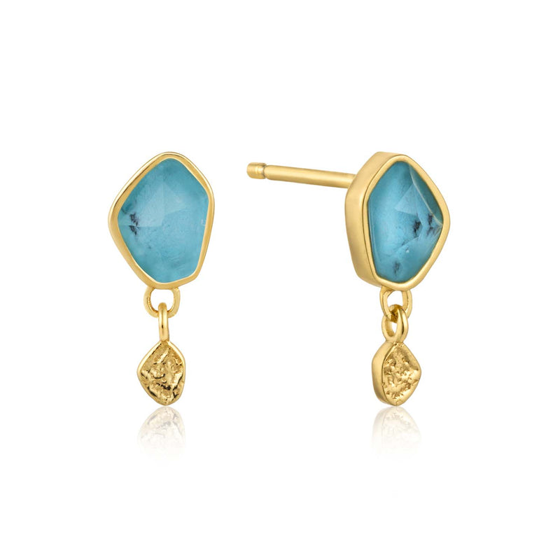 Turquoise Drop Stud Earrings - Ania Haie Jewellery