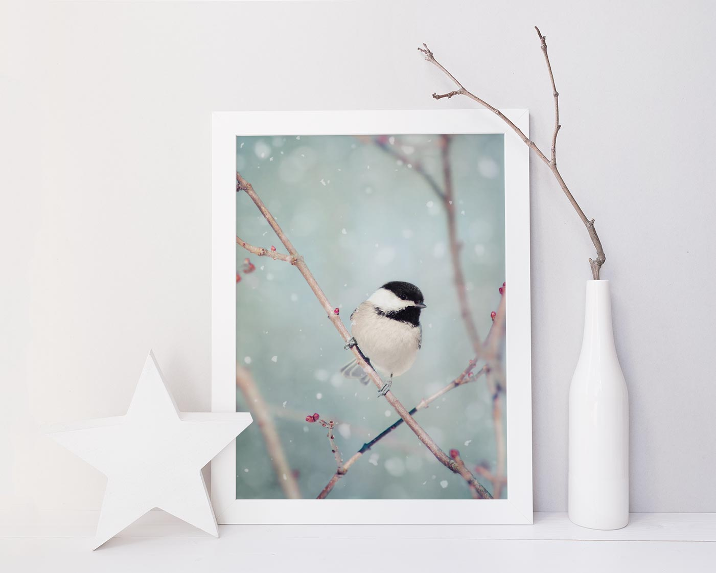 "Fine Art Bird Photography Print ""Chickadee in Snow No. 18"""