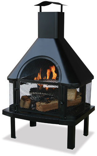 UniFlame Black Outdoor Fireplace with Chimney - Fireplace Choice