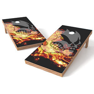 Official Size 2x4 Fire and Skull Cornhole Game