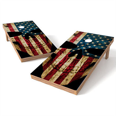 Official Size 2x4 Skull Flag Cornhole Game