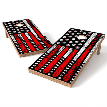 Official Size 2x4 Baseball Flag Cornhole Game