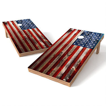 Official Size 2x4 Grunge American Flag Cornhole Game