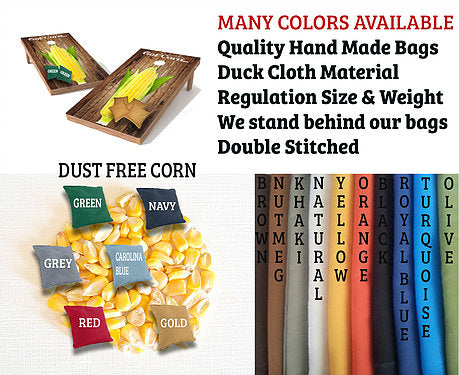 Hand Made 6x6 Inch Official Size Duck Cloth Corn Filled Cornhole Bags (set of 8)