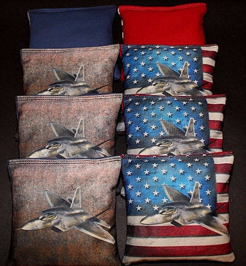 Hand Made 6x6 Inch Official Size Thunderbird Cornhole Bags (set of 8)