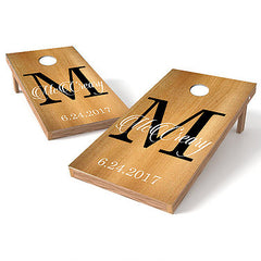 Image of Official Size 2x4 Wood Wedding Monogram Cornhole Game