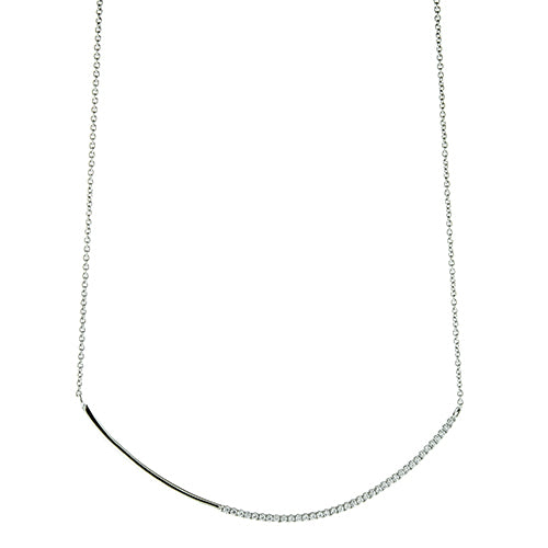Large CZ Curved Bar Necklace