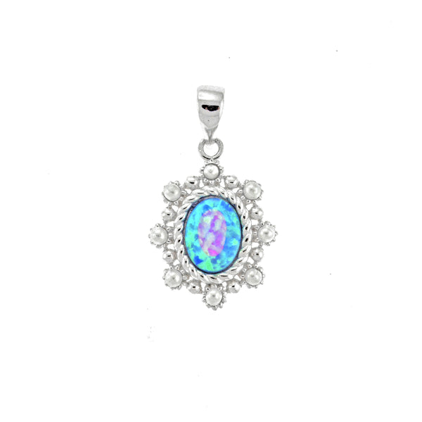 Oval Opal and Pearl Pendant