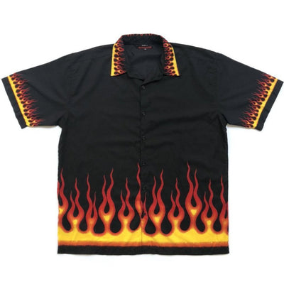 Late 90's all over Flame Print Shirt
