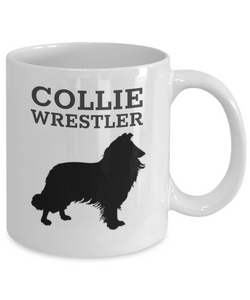Collie Wrestler White Coffee Cup