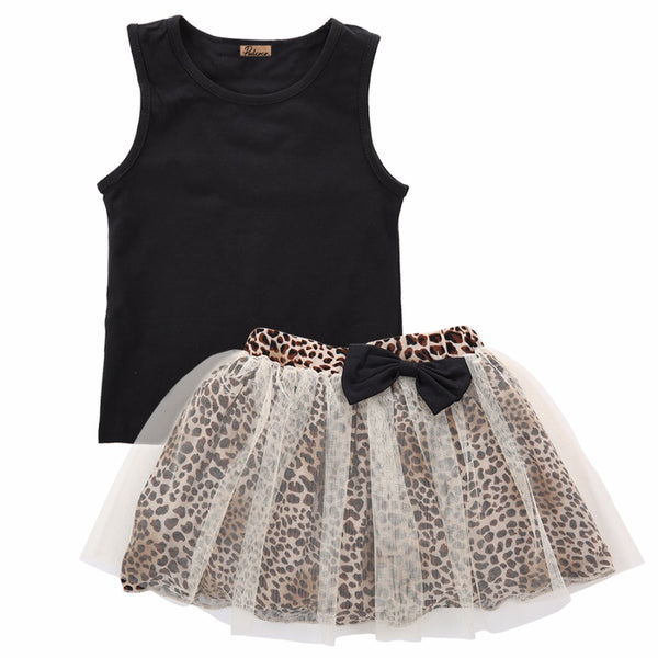 "2 Pieces ""Lace Leopard"" Skirt and Top Set"