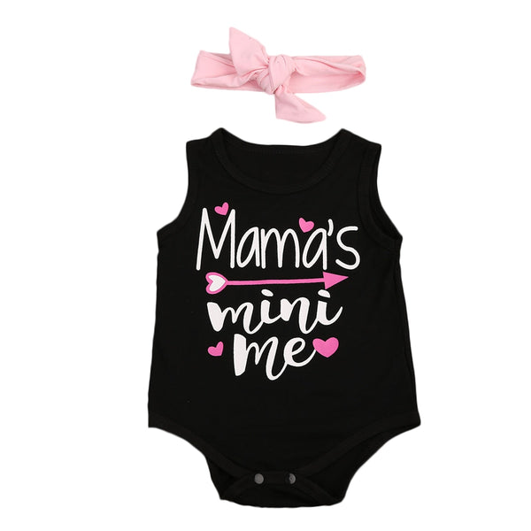 """Mama's Mini Me"" Pink and Black Sleeve-less Bodysuit with Bow"