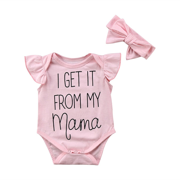 """I Get It From My Mama"" Flutter-sleeve Bodysuit Set"