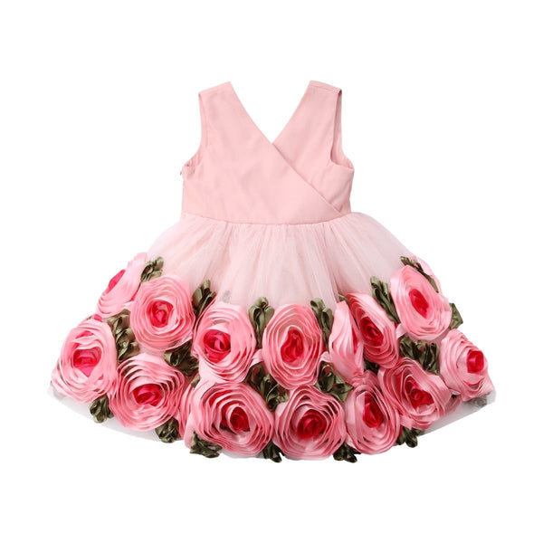 "Pink ""Carnations""  Party Dress"