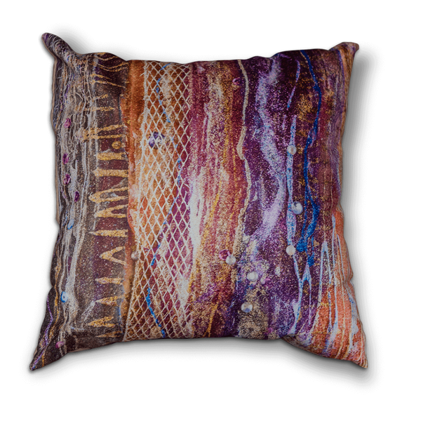 "Sharon white art Cushion purple 22"" medium"