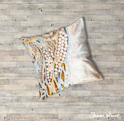 Sharon White Art Ascension Asymmetric Pearl Floor Cushion in gold, blue and pearl