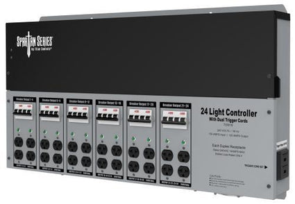 Titan Controls Spartan Series Metal 24 Light Controller 240 Volt w/ Dual Trigger Cords - Universal Outlets