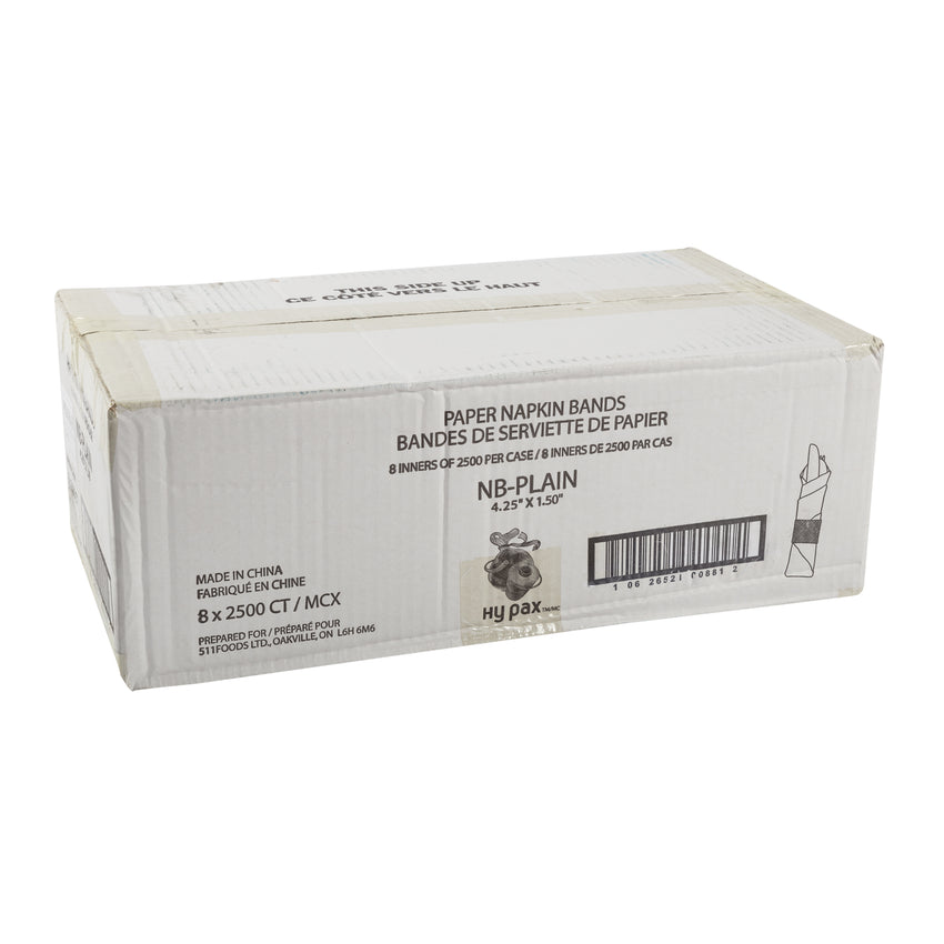 "Napkin Band Paper 4.25x1.5"" 80gsm Plain, Case 2500x8"