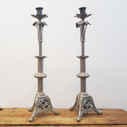 Pair of French Pewter Altar Candlesticks