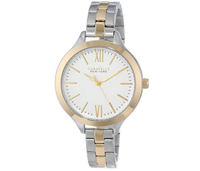 Women's Two-Tone White Dial Caravelle Watch