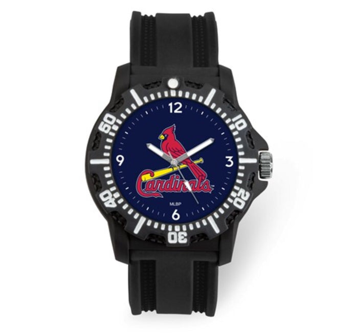 St. Louis Cardinals Men's Black Silicone Watch