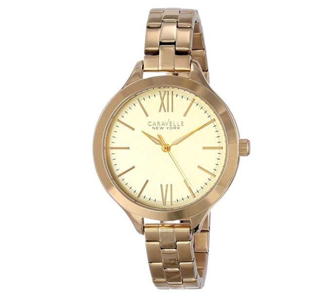 Women's Gold-Tone Champagne Dial Caravelle Watch