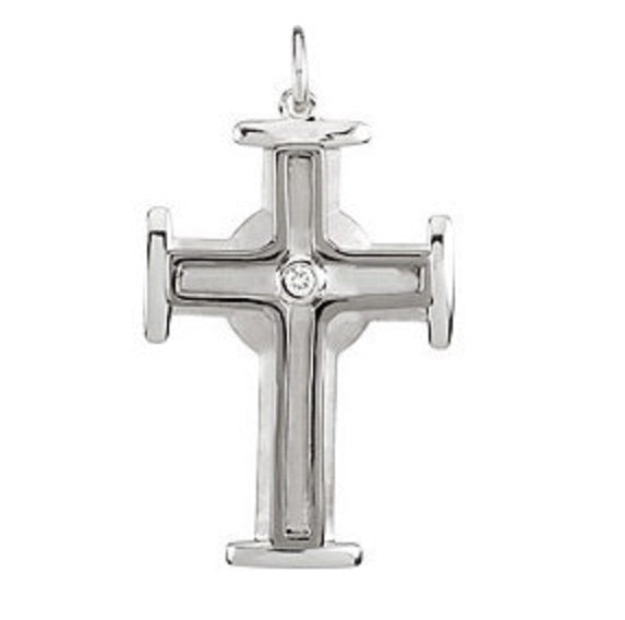 Men's Diamond & Silver Cross