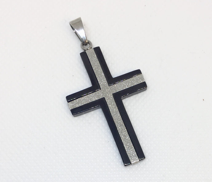 Men's Stainless Steel & IP Plated Cross Pendant