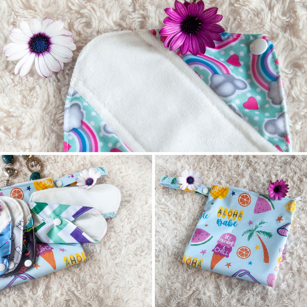 reusable panty liner set with free wet bag