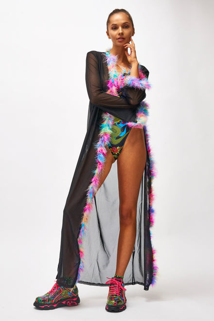 Mesh Maxi Kimono with Marabou Feather Trim