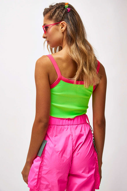 Neon Lime & Pink Crop Top With Front Graphic