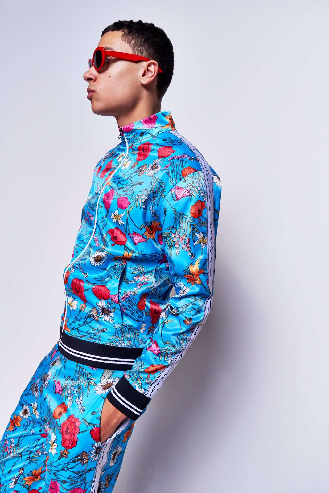Blue Floral Satin Tracktop