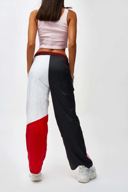 Red Pink & White Crinkle Panelled Joggers