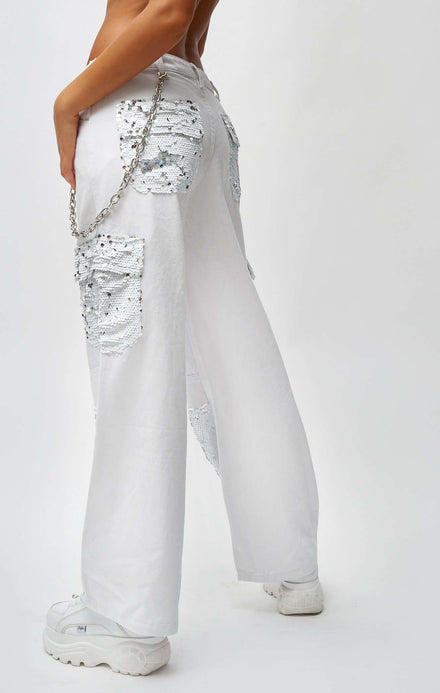 White Wide Leg Cargo Jeans With Holographic Sequins