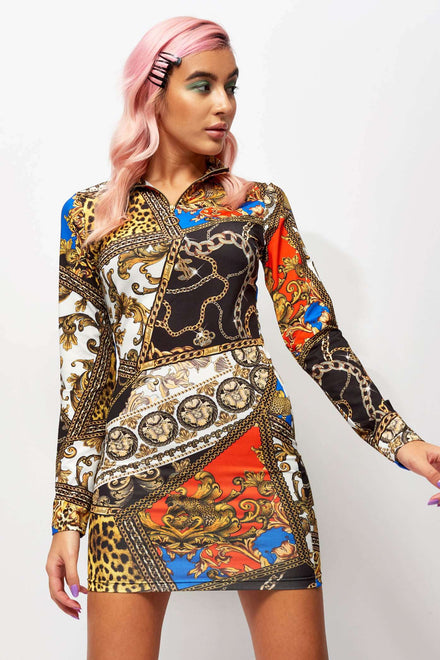 Scarf Print Zip Up High Neck Long Sleeve Dress