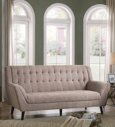 Homelegance Erath Danish Modern Mid Century Sofa with Tufted Accent, Sand