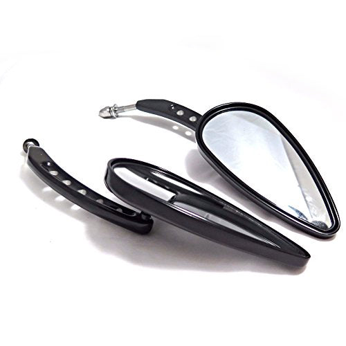 HTT Motorcycle Black Side Mirrors (Style 395F)For 1982 and Up Harley Davidson Dyna Super Glide T Sport FXDXT