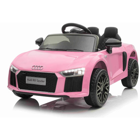 Audi R8 Spyder 12v Licensed Kids Battery Ride On Car - Leather Seats - Pink - EpicStuff