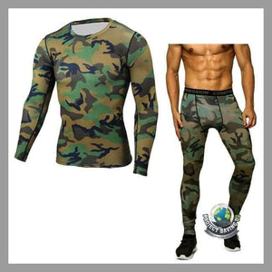 Mens Fitness T-shirt Fast Drying Camouflage Pants Sports Suit (WW) - Camouflage / L - Sports Suit